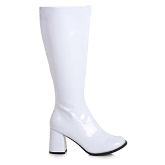 Ellie Shoes White Patent Wide Calf Gogo